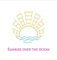 line art of sunrise over the ocean vector image