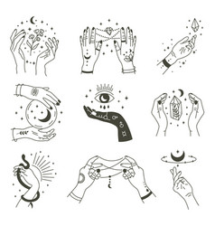 magical hands boho occult magic hand witch vector image