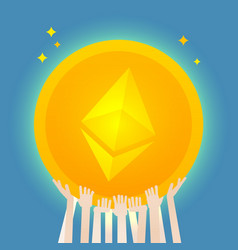 Many hands hold a huge ethereum coin vector
