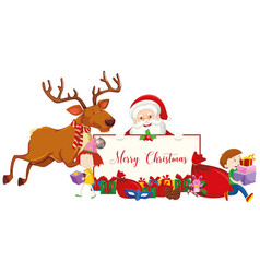 Merry christmas sign with santa and reindeer vector