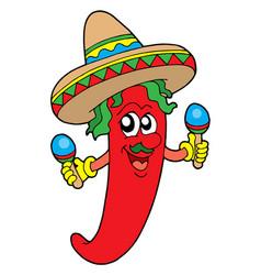 mexican chilli musician vector image