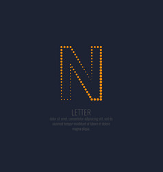 modern dotted letter n of the latin alphabet vector image