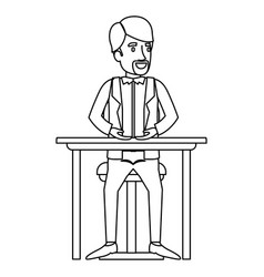Monochrome silhouette of man with formal clothes vector