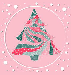motley christmas spruce tree with round frame vector image
