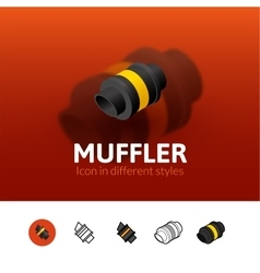 Muffler icon in different style vector