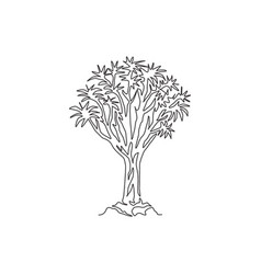 one continuous line drawing quiver tree forest vector image
