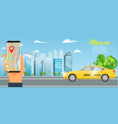 online taxi service concept yellow taxi vector image