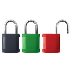 padlock in the open and closed position realistic vector image