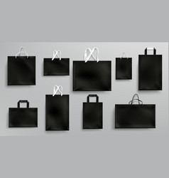 paper shopping bags mockup black packages set vector image