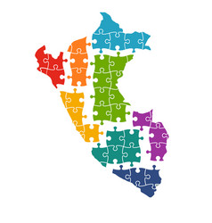 Peru map in pieces of puzzle vector
