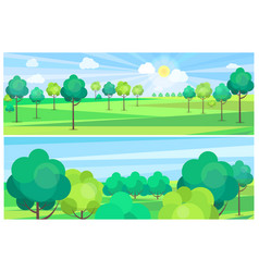 Picturesque scenery landscape with river and trees vector