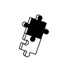 pieces puzzle solution monochrome vector image