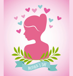 pink woman hearts leaves decoration mothers day vector image