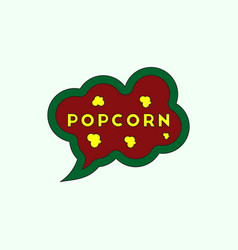 Popcorn label in flat style vector