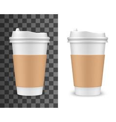 realistic coffee cup tea plastic 3d mockup vector image
