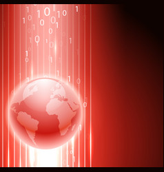 red background with binary code to the globe vector image