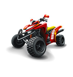 Red quad bike with strips on white background vector