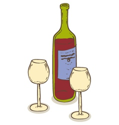 Red wine and two wineglasses vector