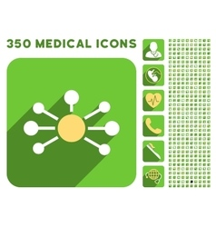 Relations Icon and Medical Longshadow Icon Set vector