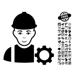 Repairman Flat Icon With Bonus vector