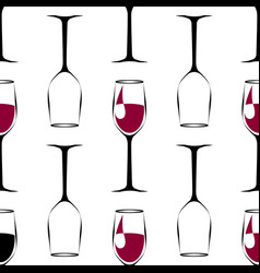 seamless pattern with black wineglass with wine vector image