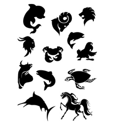 set black animals silhouettes vector image