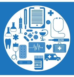 Set flat medical icons vector
