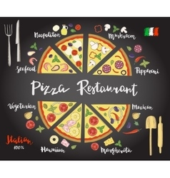 Set hand drawn slices of pizza popular vector