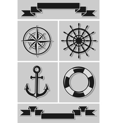 Set of nautical icons and ribbons Flat design vector image
