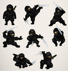 Set of ninja assassins vector