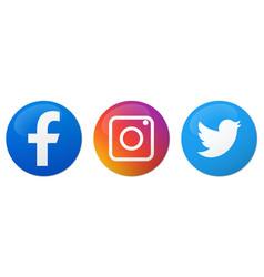Set social media logo vector