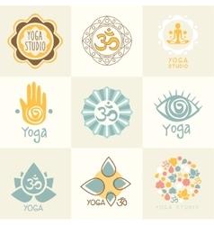 set yoga and meditation symbols vector image