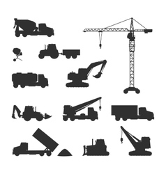 Silhouettes of Construction Machines on White vector