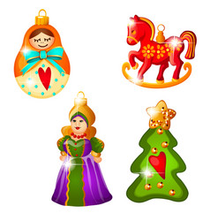 sketch with christmas tree decoration in russian vector image