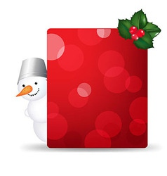Snowman Man With Blank Gift Tag And Holly Berry vector image