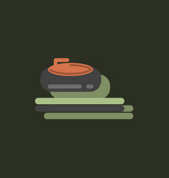 Stone for curling sport game in sticker style vector