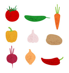 stylized vegetables set vector image