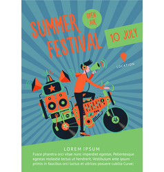 summer festival music poster template with dj vector image