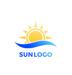 sun and wave logo vector image