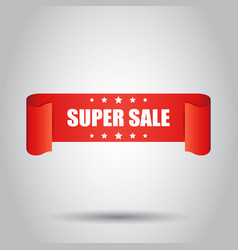 Super sale ribbon icon discount sticker label on vector
