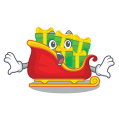 surprised santa sleigh with christmas character vector image