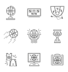 Thin line style basketball icons vector
