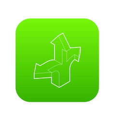 Three way direction arrow icon green vector