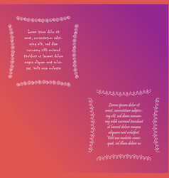 Two square frames with sample text vector