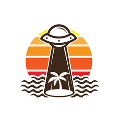 Ufo beach vacation with palm tree logo design vector