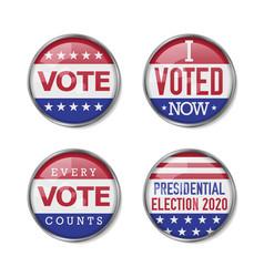 Voting badge realistic set vector