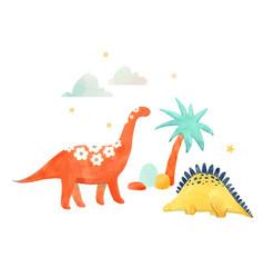 Watercolor dinosaur vector