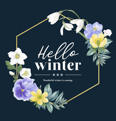 Winter bloom wreath design with galanthus anemone vector