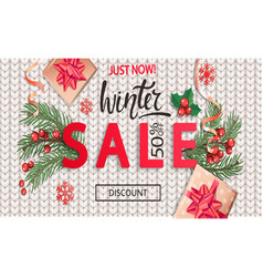 winter sale knitted banner for new year holidays vector image