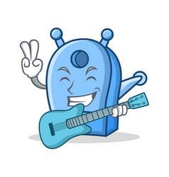 With guitar pencil sharpener character cartoon vector